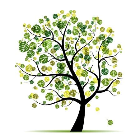 tree outline: Spring tree green for your design  Illustration