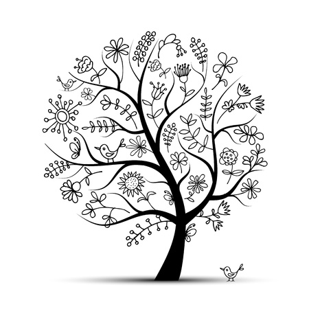 bird and tree: Art floral tree black for your design Illustration