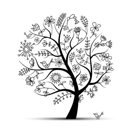 trunk: Art floral tree black for your design Illustration