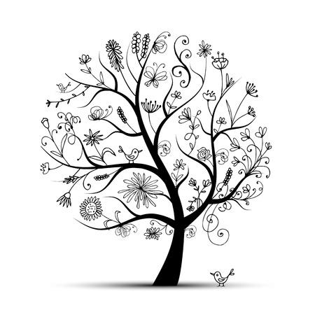 arboles de caricatura: �rbol floral de arte negro para su dise�o