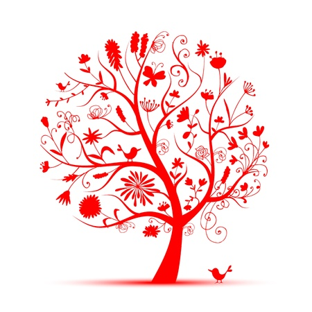 Art floral tree red for your design Stock Vector - 9478432