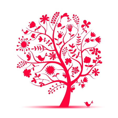 Art floral tree pink for your design Vector