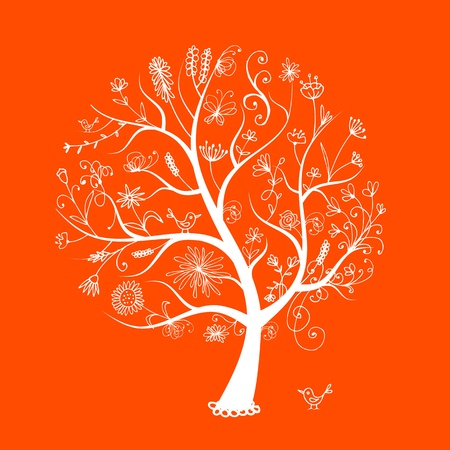 tree drawing: Art floral tree for your design