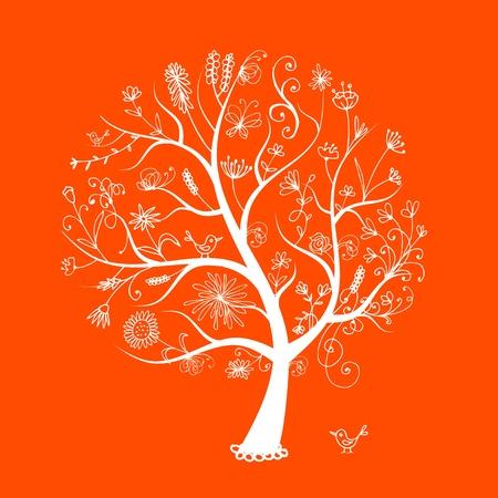boom met vogels: Bloemen boom kunst voor uw ontwerp Stock Illustratie