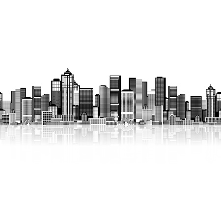 Cityscape seamless background for your design, urban art  photo