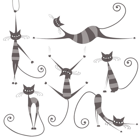 gray cat: Graceful grey striped cats for your design  Illustration