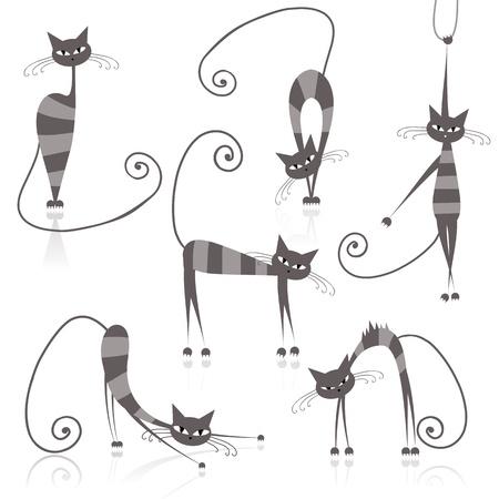 silueta de gato: Agraciado gatos rayas grises para el diseño