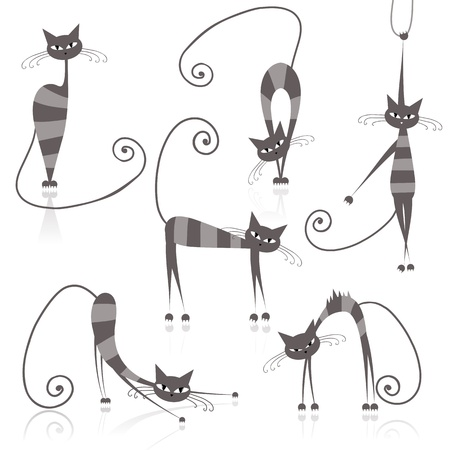 grey cat: Graceful grey striped cats for your design  Illustration