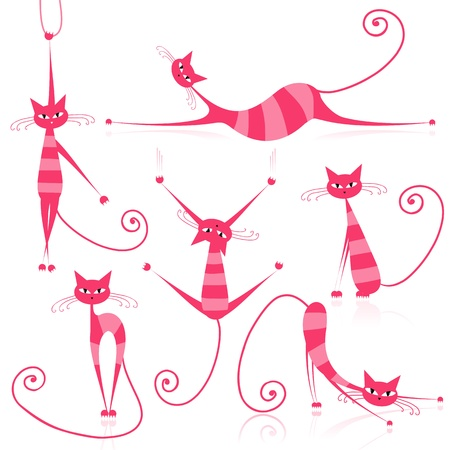 pussycat: Graceful pink striped cats for your design