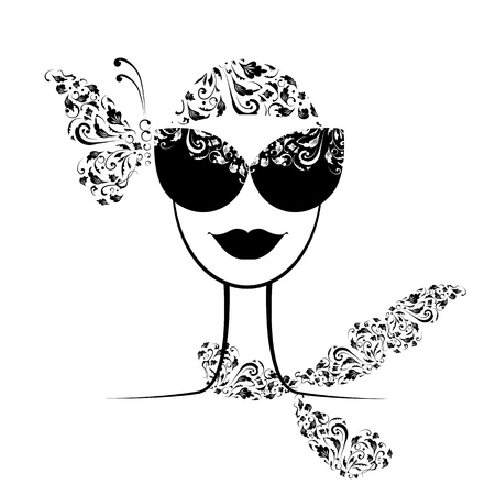 Female fashion silhouette with sunglasses your design Stock Vector - 9579808