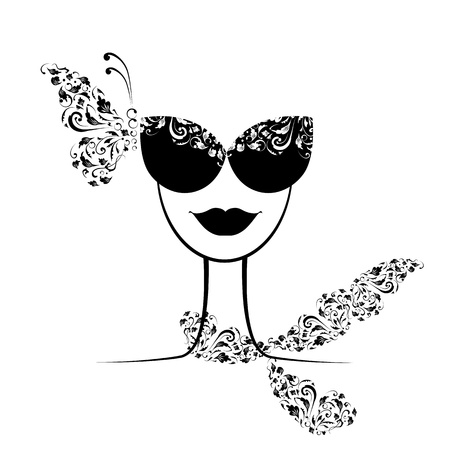 Female fashion silhouette with sunglasses your design  Vector