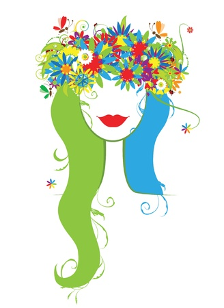 Woman head with floral wreath Vector