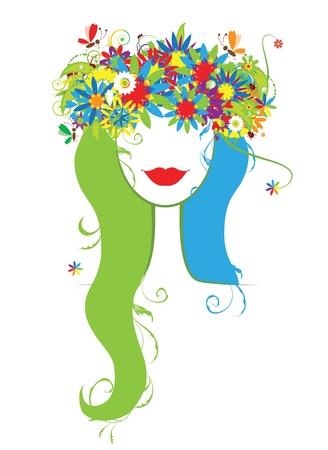 Tête de femme avec Couronne floral