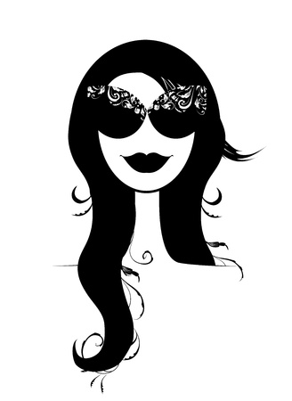 nude female: Woman head silhouette with floral wreath