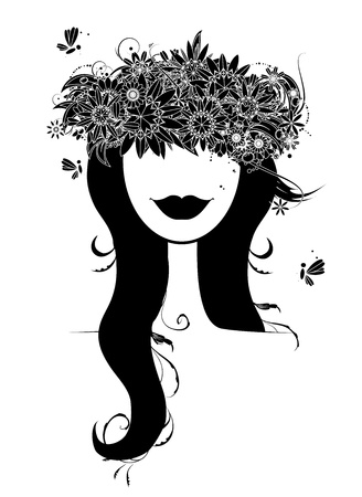 Woman head silhouette with floral wreath Stock Vector - 9579822