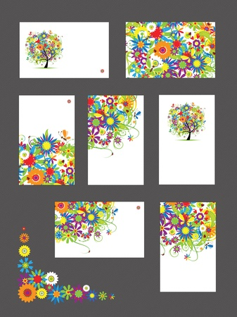 Set of business cards, floral ornament for your design Stock Vector - 9579838