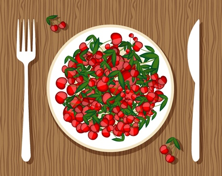 Cherries on plate with fork and knife on wooden background for your design Vector