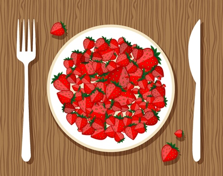 Strawberry on plate with fork and knife on wooden background for your design Vector