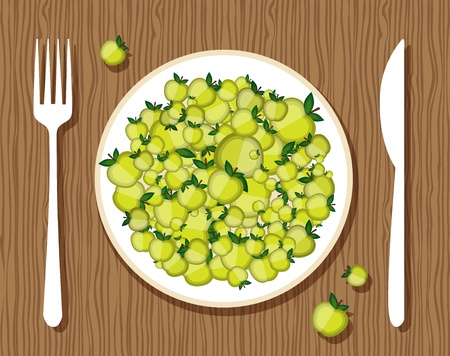 Apples on plate with fork and knife on wooden background for your design Vector