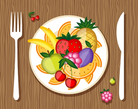 Fruits on plate with fork and knife on wooden background for your design Vector