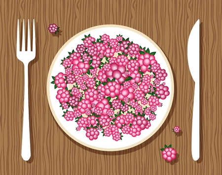 Raspberries on plate with fork and knife on wooden background for your design Vector