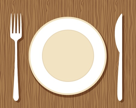 white plate: Empty plate with fork and knife on wooden background for your design Illustration