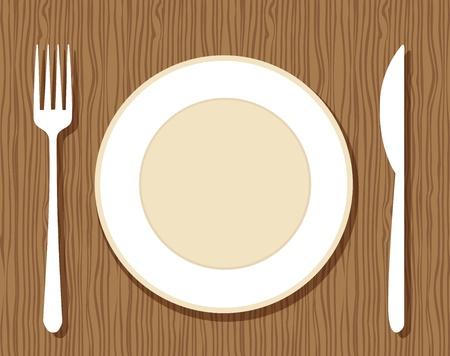 Lege plaat met vork en mes op houten achtergrond voor uw ontwerp Vector Illustratie