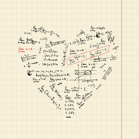 Heart shape with math formulas for your design Stock Vector - 9579800