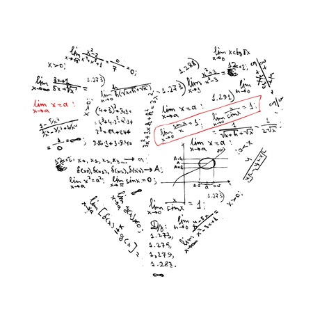 cartoon math: Heart shape with math formulas for your design