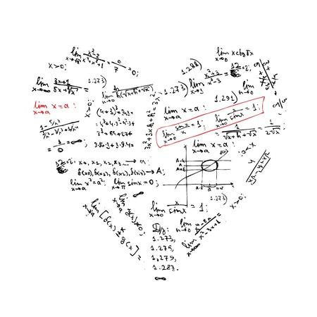 Kształt serca z formułami matematycznymi projekt