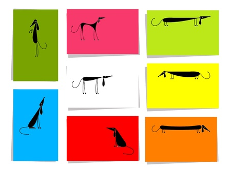 Set of funny dogs, 10 cards for your design with place for your text Vector