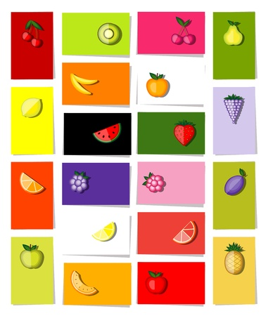 Set of fruits, 20 cards for your design with place for your text Vector
