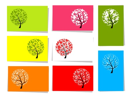 Set of trees, 10 cards for your design with place for your text Vector