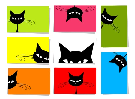 Set of funny cats, 10 cards for your design with place for your text Vector