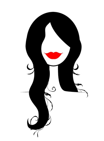 long hair woman: Retrato de mujer de moda para el dise�o Vectores