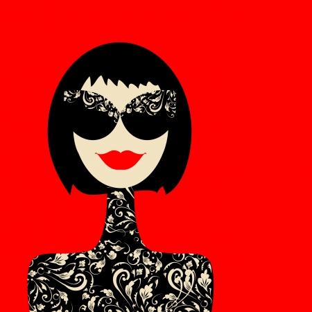 retro fashion: Fashion woman portrait for your design Illustration