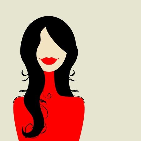 labios rojos: Retrato de mujer de moda para el dise�o Vectores