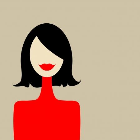 labios sexy: Retrato de mujer de moda para el dise�o Vectores