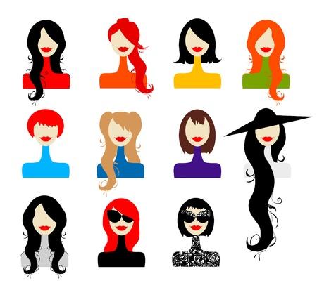 cuello largo: Conjunto de rostros de mujer para el dise�o Vectores