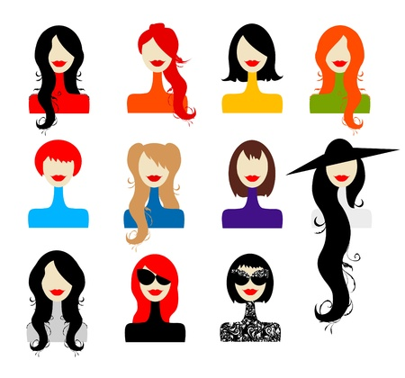 hair black color: Set of womans faces for your design