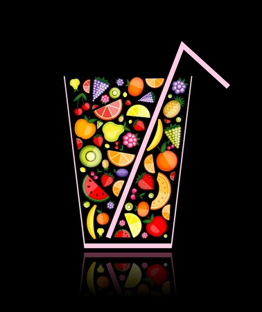 mix fruit: Mix of fruit juice in glass for your design Illustration