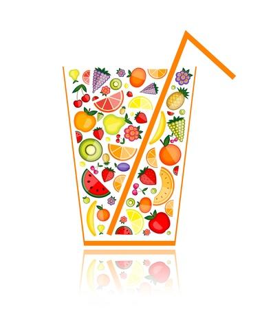 orange juice glass: Mix di succhi di frutta in vetro per il vostro disegno Vettoriali