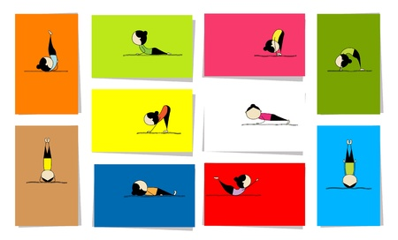 women yoga: Woman practicing yoga, 10 cards for your design Illustration