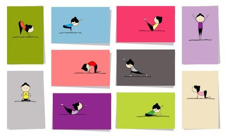 yoga meditation: Donna, praticando lo yoga, 10 schede per il vostro disegno