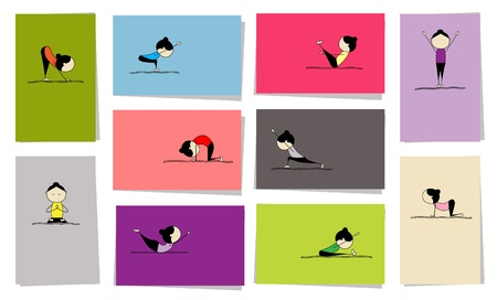 Woman practicing yoga, 10 cards for your design Vector