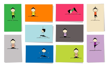 yoga mat: Woman practicing yoga, 10 cards for your design Illustration