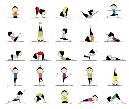 gymnastique: Femme pratiquant le yoga, 25 poses pour votre design