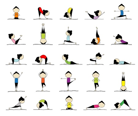 women yoga: Woman practicing yoga, 25 poses for your design