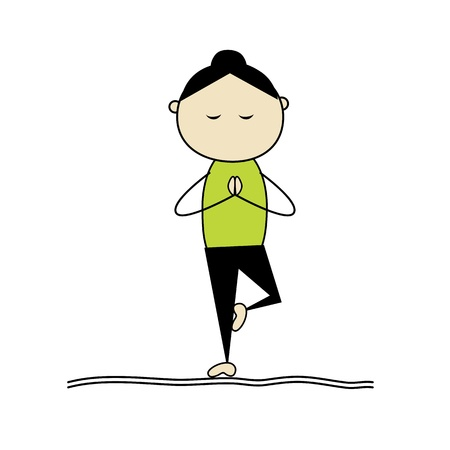 posture: Woman practicing yoga, tree pose Illustration