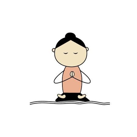 woman meditation: Woman practicing yoga, lotus pose Illustration